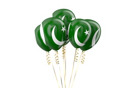 declaration of independence: Pakistan patriotic balloons, holyday concept Stock Photo