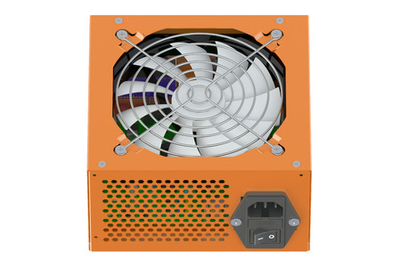 ac voltage source: orange Power Supply Unit isolated on white background