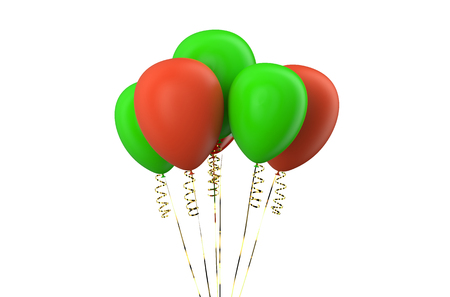 green balloons: set of red and green balloons isolated on white background Stock Photo