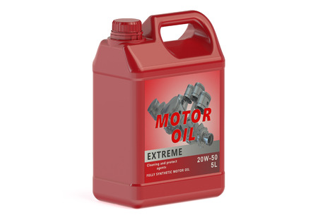 motor oil: red canister motor oil isolated on white background