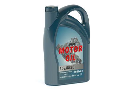 motor oil: blue canister motor oil isolated on white background