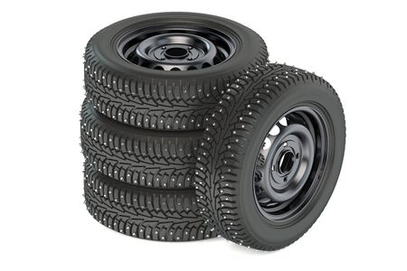 tire tread: Group of winter automotive tires isolated on white background