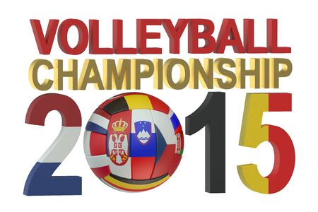 women's volleyball game: Volleyball European womens championship 2015 concept isolated on white background Stock Photo