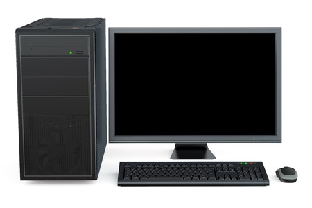 Desktop computer isolated on white background Stock Photo