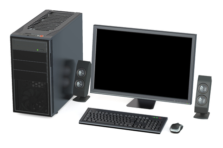 personal computer: Personal computer isolated on white background Stock Photo