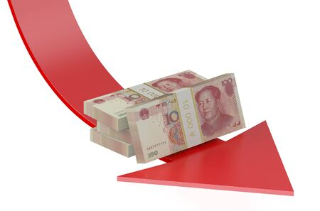 financial concept: falling of the Chinese yuan concept