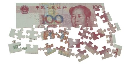yuan: puzzle of the Chinese yuan concept Stock Photo
