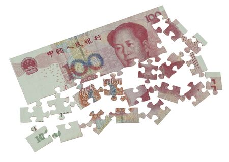 banking and finance: puzzle of the Chinese yuan concept Stock Photo