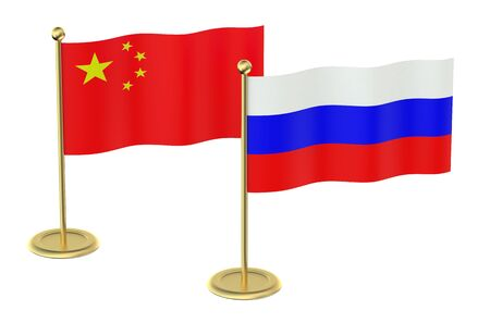 industrialized country: meeting China with Russia concept isolated on white background Stock Photo
