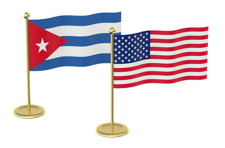 industrialized country: meeting USA with Cuba concept isolated on white background