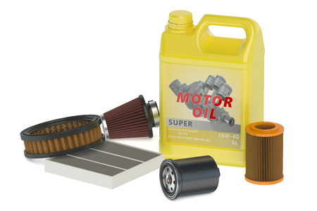 motor oil: motor oil and filters isolated on white background