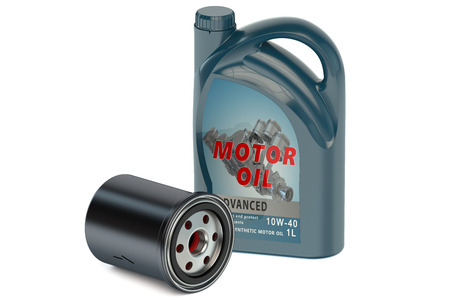 motor oil: motor oil and oil filter isolated on white background Stock Photo