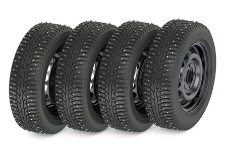snow tires: Group of winter automotive tires isolated on white background