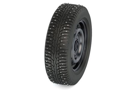 studs: winter automotive tyre with studs isolated on white background Stock Photo