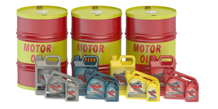 motor oil: Motor oil barrels and canisters
