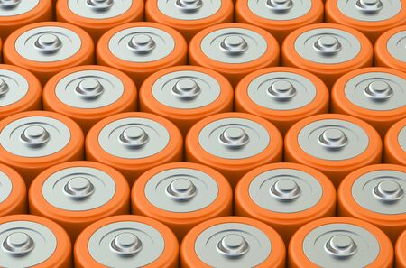 macro: Macro view of orange AA batteries Stock Photo