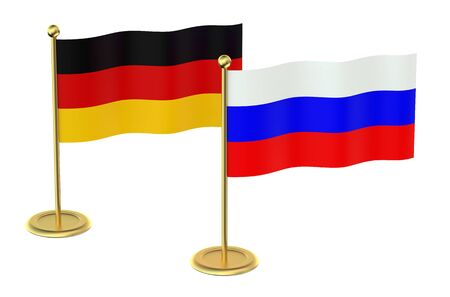 industrialized country: meeting Germany with Russia concept isolated on white background
