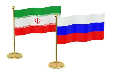 industrialized country: meeting Iran with Russia concept isolated on white background