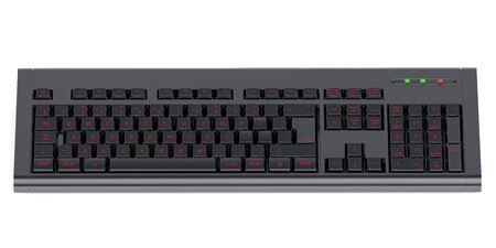Modern backlit keyboard  isolated on white background