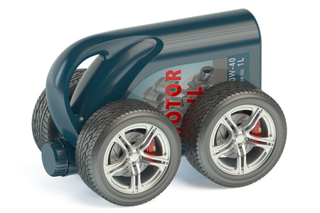 motor oil: Motor Oil Canister on Wheels isolated on white background
