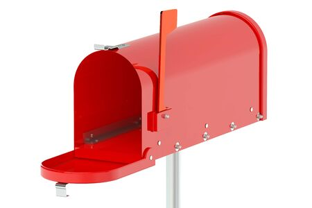 metal mailbox: Red Mailbox isolated on white background Stock Photo