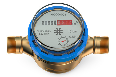 displacement: cold water meter isolated on white background Stock Photo