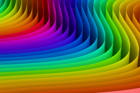 3d rainbow: Abstract rainbow colors wave background Stock Photo