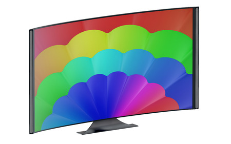flat panel display: modern curved tv set isolated on white background