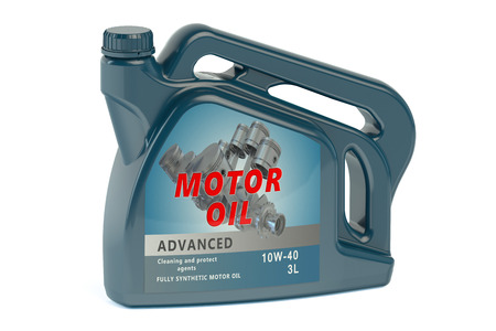 motor car: canister motor oil isolated on white background Stock Photo
