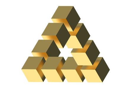 The Penrose triangle optical illusion isolated on white background