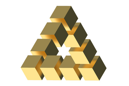 The Penrose triangle optical illusion isolated on white background