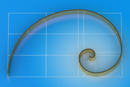proportion: Golden ratio on blue background