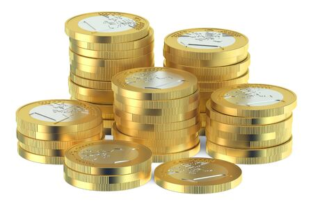 silver coins: Stack of Euro coins isolated on white background