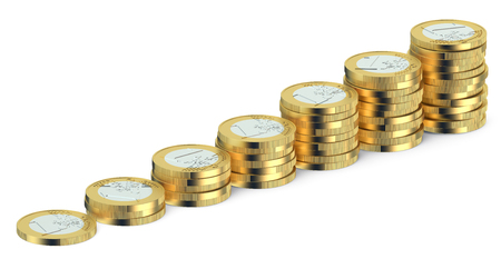euro coins: Stacks of Euro coins isolated on white background