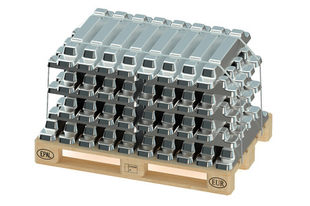 silver ingots: Aluminum ingots on pallet  isolated on white background Stock Photo