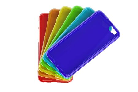 cases: MultiColor Mobile Phone plastic cases isolated on white background