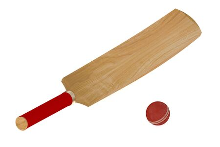 cricket bat: cricket bat and ball isolated on white background