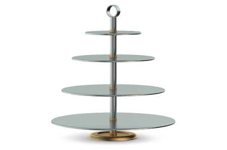cake stand: Metallic Cake Stand isolated on white background Stock Photo