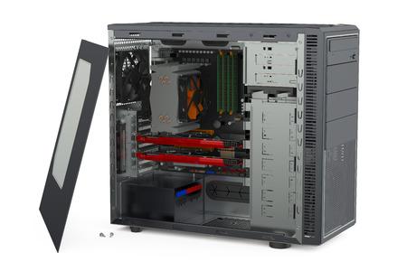 estuche: Vista lateral Unidad del sistema informático