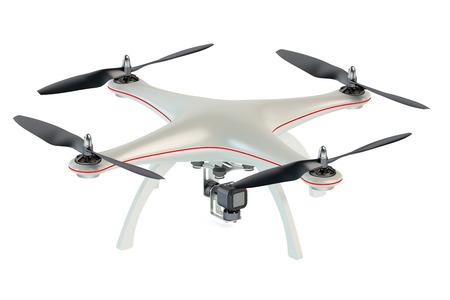 volar: Quadrocopter Drone aislado en fondo blanco