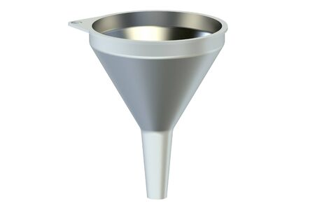 stainless steel kitchen: one metallic funnel isolated on white background