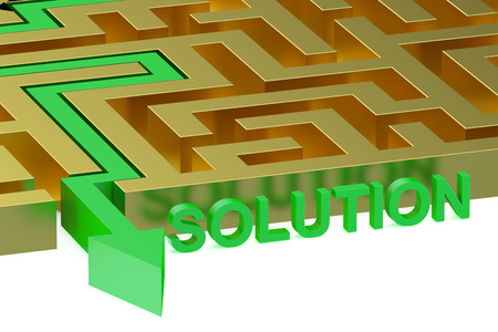 seeking solution: Path across labyrinth, solution concept Stock Photo