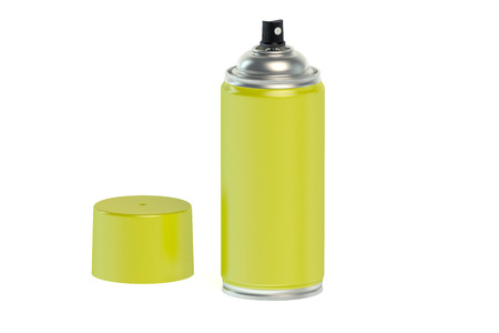 paint can: yellow spray paint can isolated on white background Stock Photo