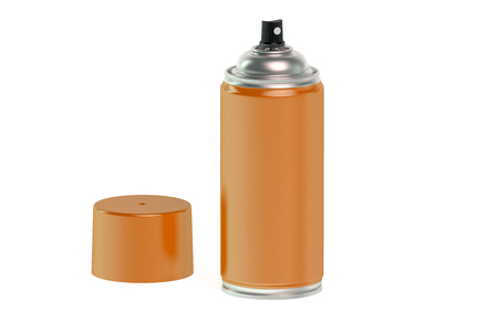 paint can: orange spray paint can isolated on white background