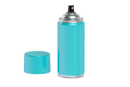 hairspray: light blue spray paint can isolated on white background