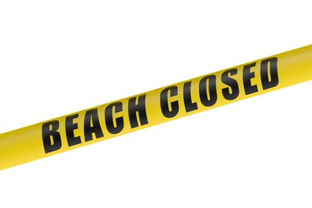 cordon: Beach Closed Line isolated on white background Stock Photo