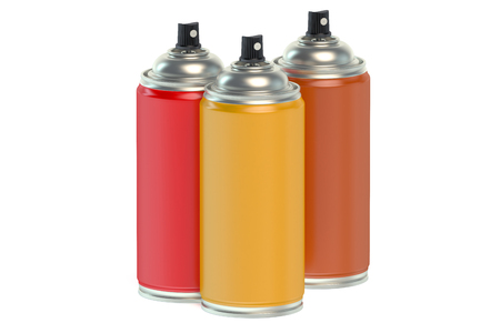 paint cans: Colored spray paint cans isolated on white background Stock Photo