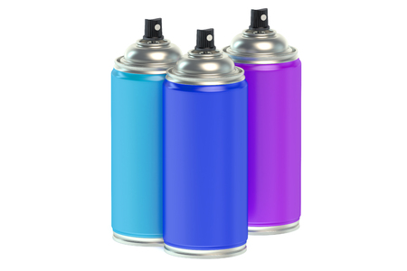 three colors: Spray paints cans isolated on white background Stock Photo