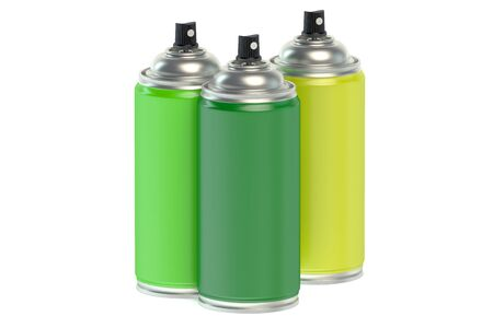 paint cans: Colour spray paint cans isolated on white background