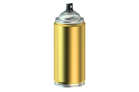 spray paint can: golden spray paint can isolated on white background Stock Photo